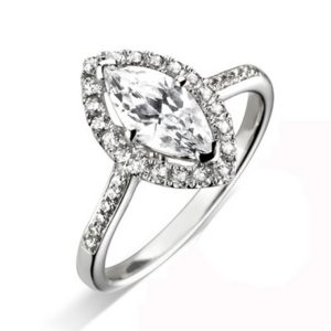 Marquise Cut Halo Grain Set Diamond Engagement Ring