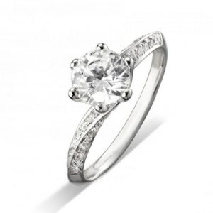 Grain Set Twist Diamond Engagement Ring
