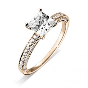 Princess Cut Grain Set Diamond Engagement Ring